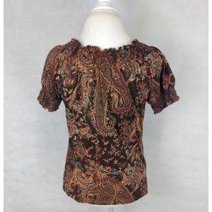 Ralph Lauren Tops - Ralph Lauren Brown Paisley Short Sleeve Top Medium